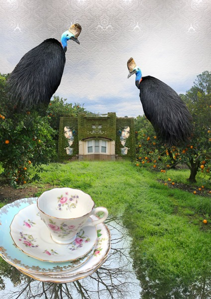 digital artwork, send your photo, placement in birds witches house teacup scene