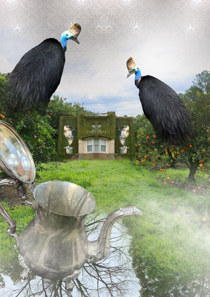 digital artwork, send your photo, placement in birds witches house teapot scene