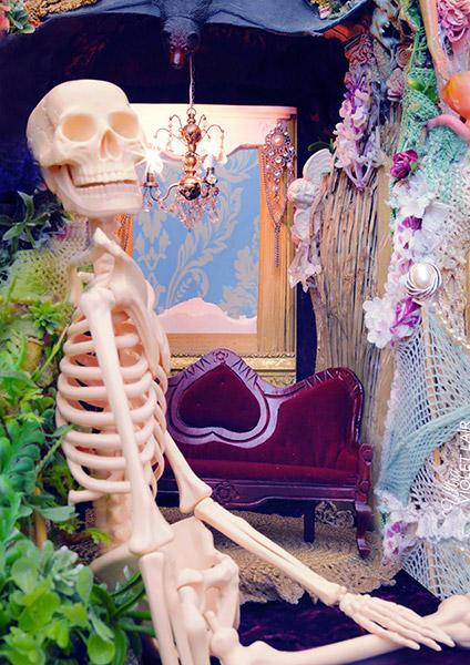 digital artwork, send your photo, placement in dark skeleton room scene