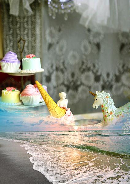 digital artwork, send your photo, placement in ice-cream carousel scene