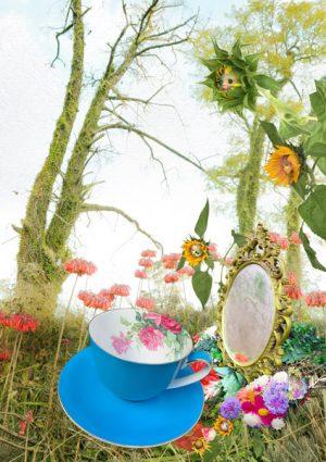 digital artwork, send your photo, placement in sunflower mirror scene