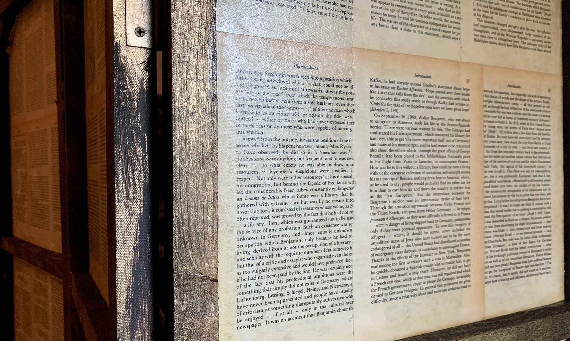 Pages from Illuminations book, Walter Benjamin on screen